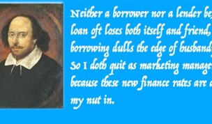 Shakespeare quits and new Interest Free Credit