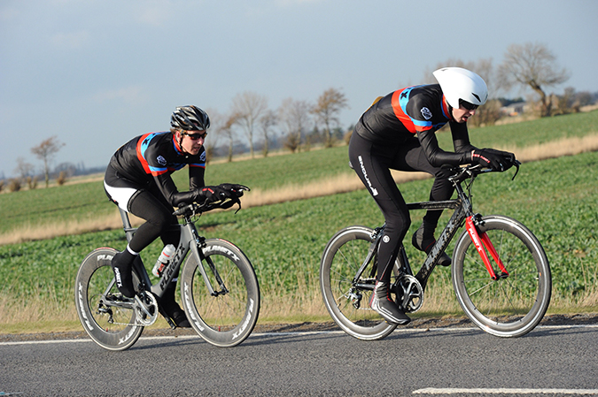 Michael Hobson & Peter Morris ride Planet X Exocet carbon time trial bikes on the Sheffec CC team time trial