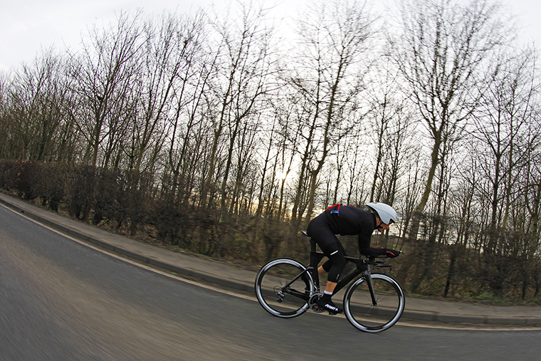 Ritchie Nicholls powering away on the new Planet X TT timetrial triathlon carbon prototype