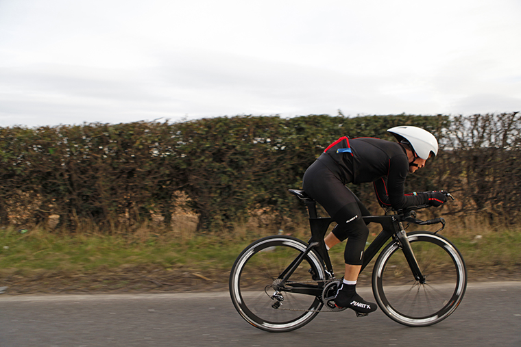Ritchie Nicholls and the new prototype Planet X carbon TT timetrial triathlon bikes