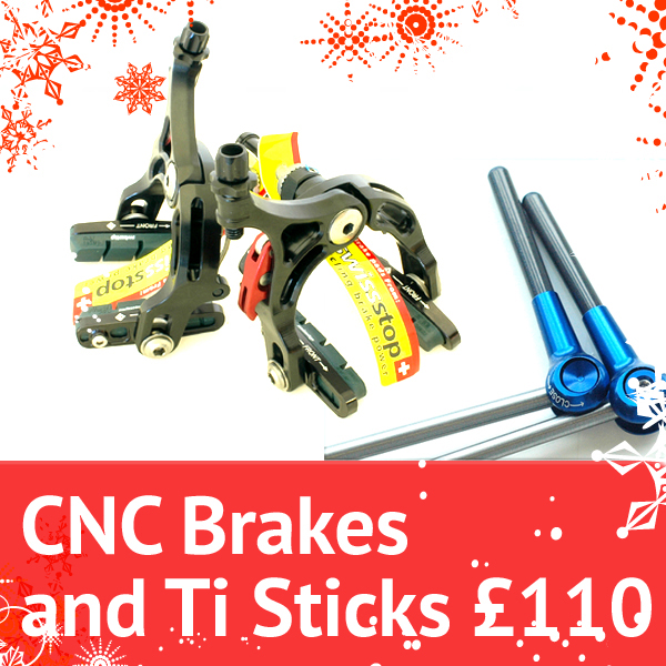 Planet X CNC Brakes plus Ti Stick skewers only 110 quid