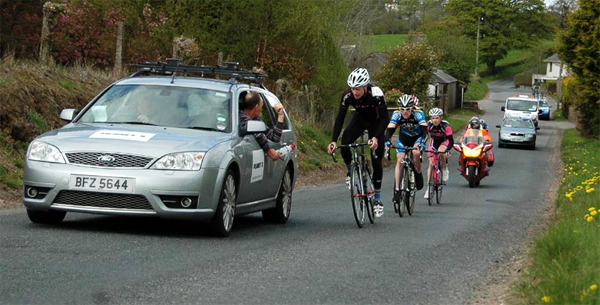 Planet X Rider Roger Aiken and Team Manager Frank Campbell at the Tour of Ulster