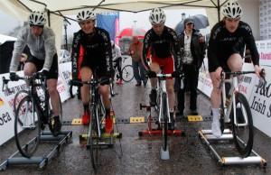 Planet X Riders warming up at the Tour of the North