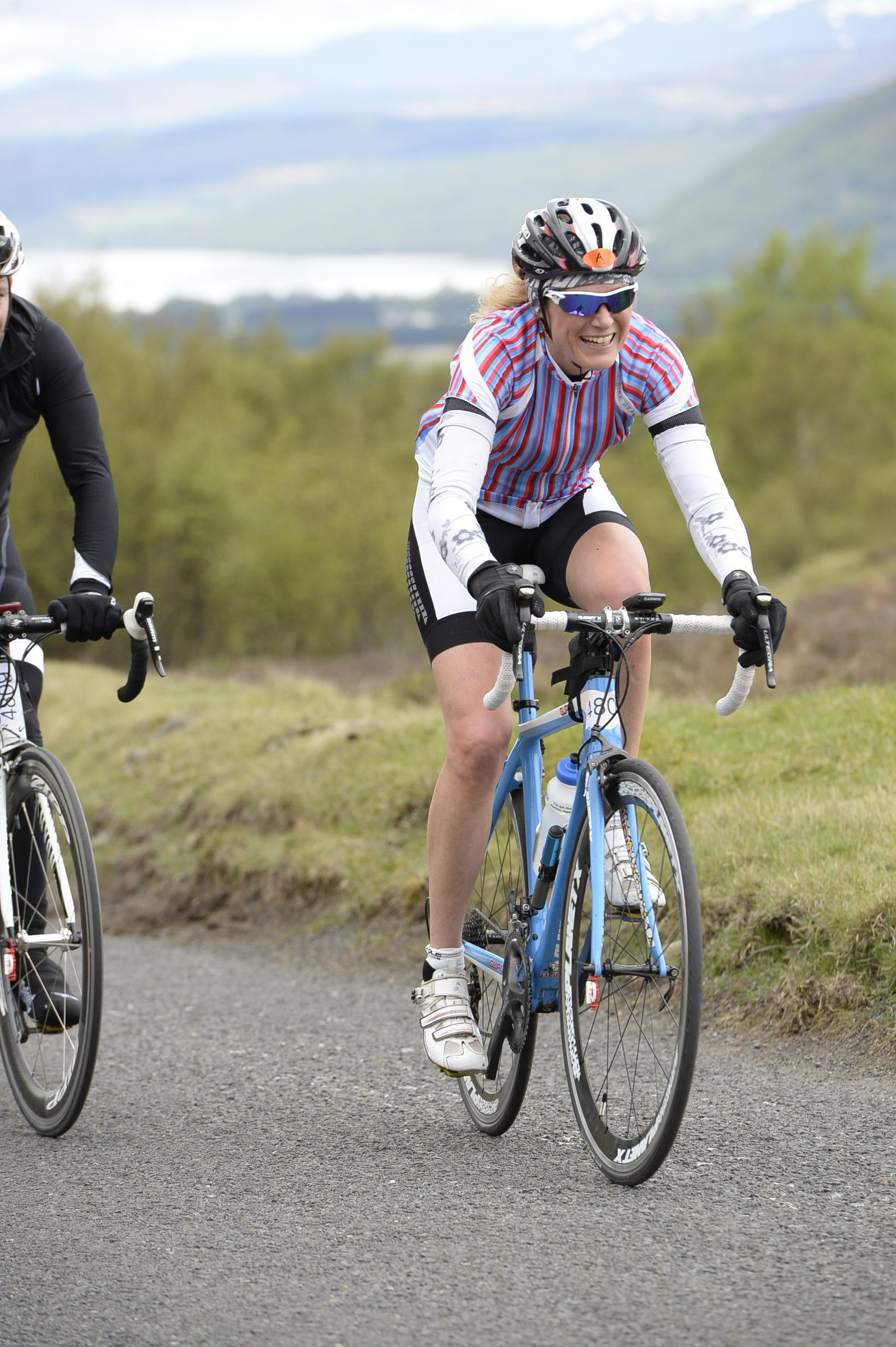 Fiona riding the Etape Caledonia