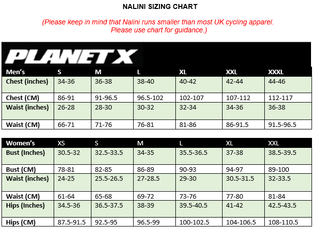 Nalini Mens Clothing Size Guide