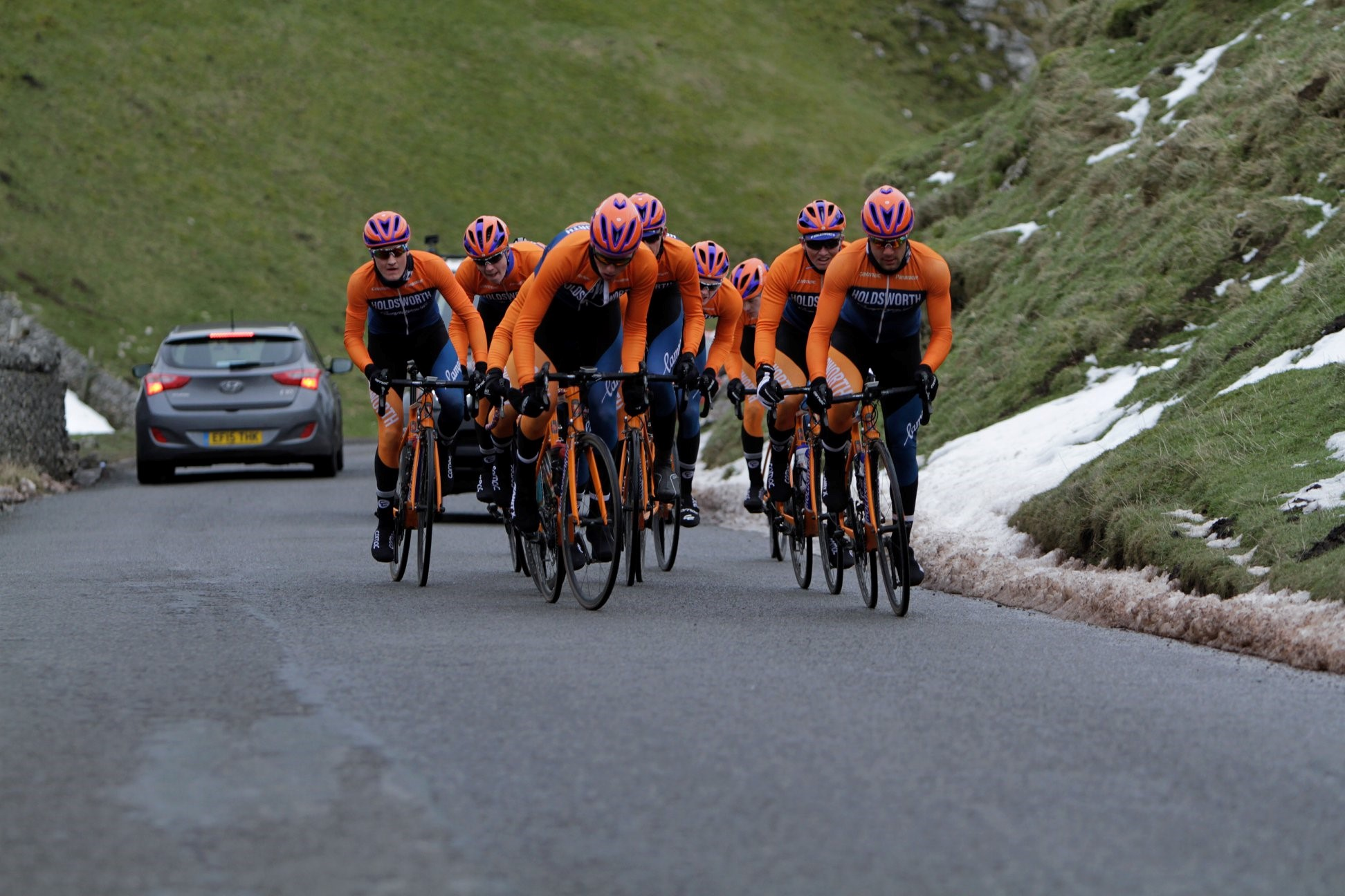 Team Holdsworth Riding up Winnats Pass on a cold training day