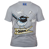 On-One Mombassa Blue Wrens Short Sleeved T Shirt