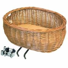 Basil Pluto Wicker Front Dog Basket EDO Bracket Mounting To Head Tube (30-50mm Tubes) Inc Cushion Natural Wicker