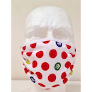 Planet X Sublimated Face Mask / KOM Red Polka Dot White
