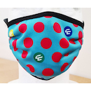 Planet X Face Mask / Red Polka Dot Cyan Blue