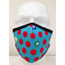 Planet X Custom Fabric Filter Face Mask / Red Polka Dot Cyan Blue