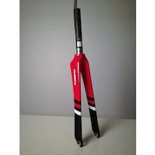 Planet X Pro Carbon Track Fork / 1 1/8 Inch / Gloss Red / Matt Black / Steerer Cut