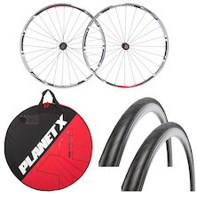 Deluxe Ambrosio Varo Clincher Wheelset , Wheelbag And Tyres Bundle