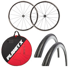 Deluxe Shimano WH-RS330 Wheelset , Wheelbag And Tyres Bundle