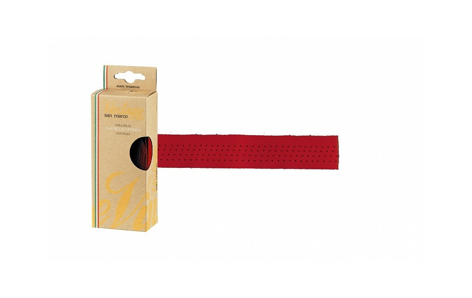 San Marco Vintage Leather Bar Tape / Red