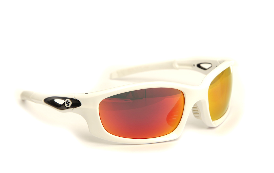 Carnac Metis Cycling Glasses (ANSI Z87.1) / Gloss White / Smoke Red Revo / Orange OR80 / Transparent