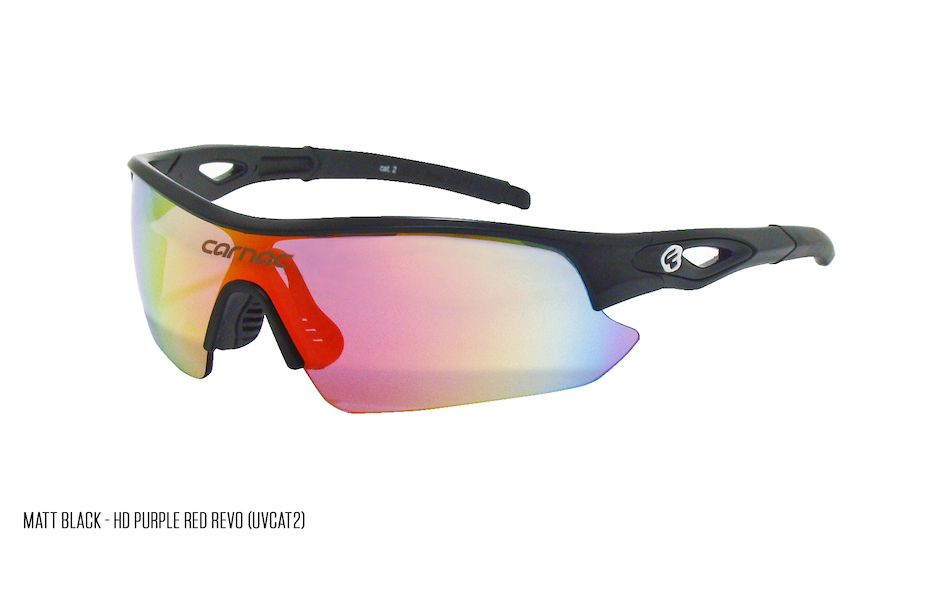 Carnac Ourea Cycling Glasses  (ANSI Z87.1) / Matt Black / HD Purple Red Revo