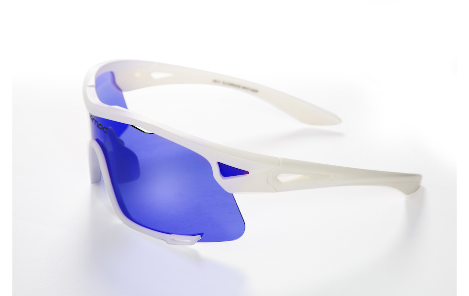 Carnac Race Sunglasses / Matt White / Blue Revo