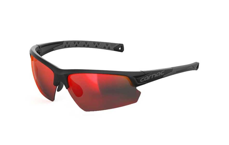 Carnac Perform Half Frame Sunglasses / Matt Black / Red Black Revo