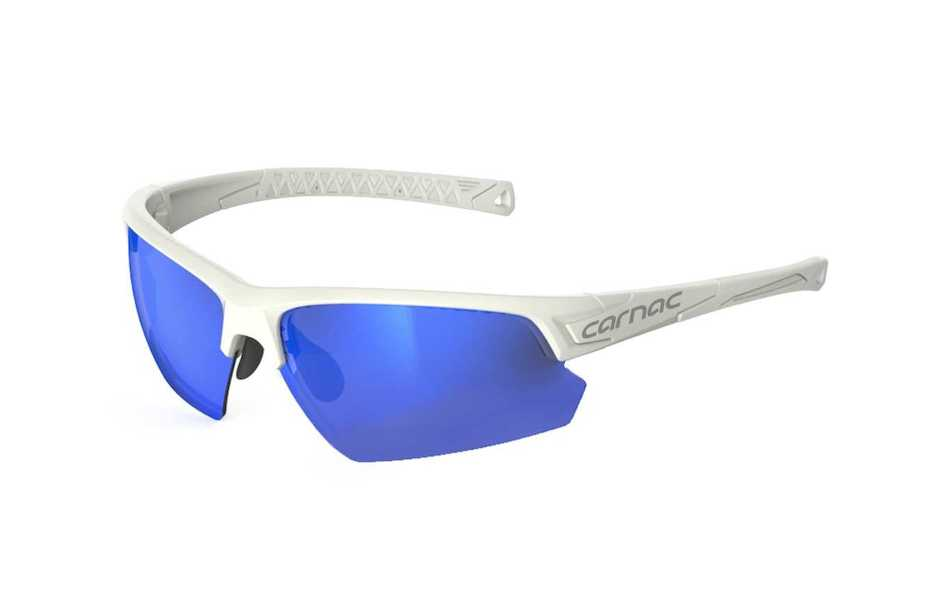 Carnac Perform Half Frame Sunglasses / Matt White / Blue Revo