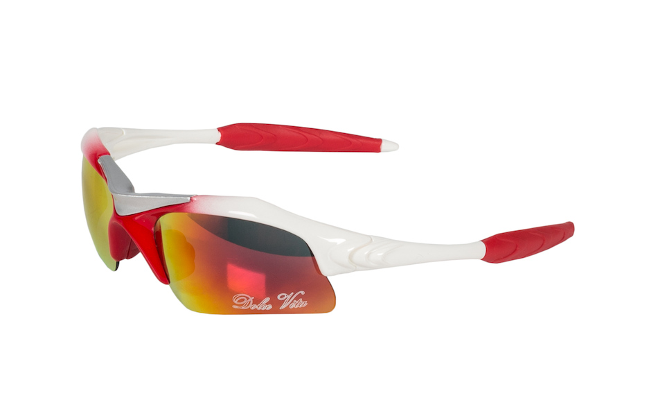Dolce Vita Air Force One Cycling Glasses / White and Red / Red Revo / Clear and Smoke