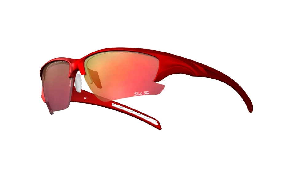 Dolce Vita Falcon Cycling Glasses / Red and White / Red Revo / Smoke and Clear