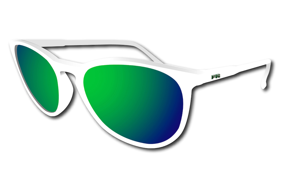 Power Race Fashion Two Cycling Glasses / White / Green Revo