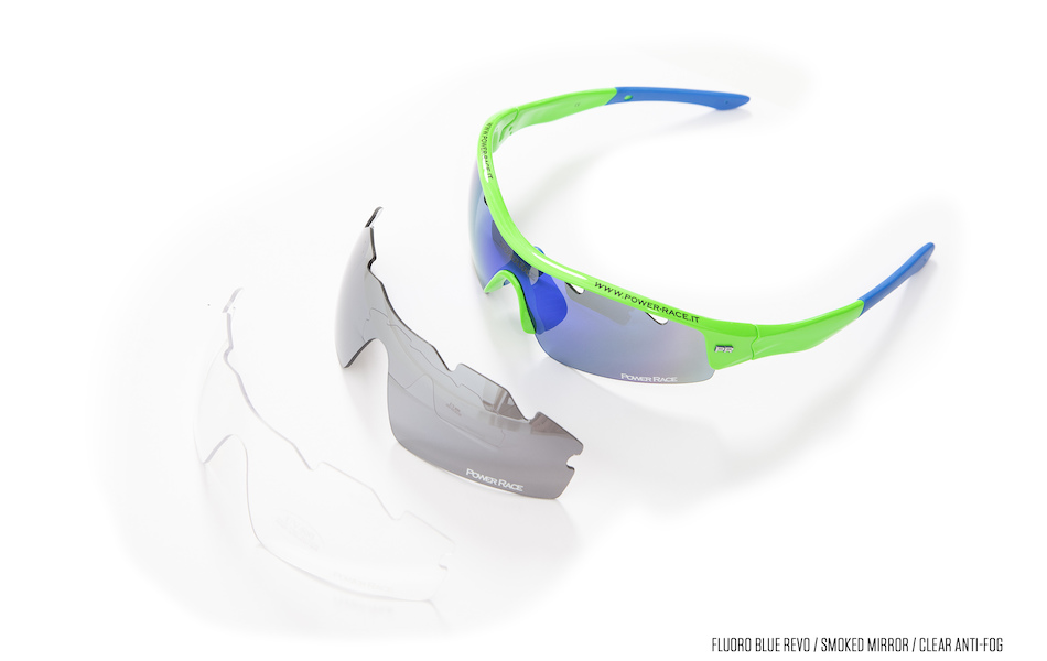 Power Race Mirage Cycling Glasses / Fluo Green / Blue Revo / Clear Anti Fog / Smoke Mirrored