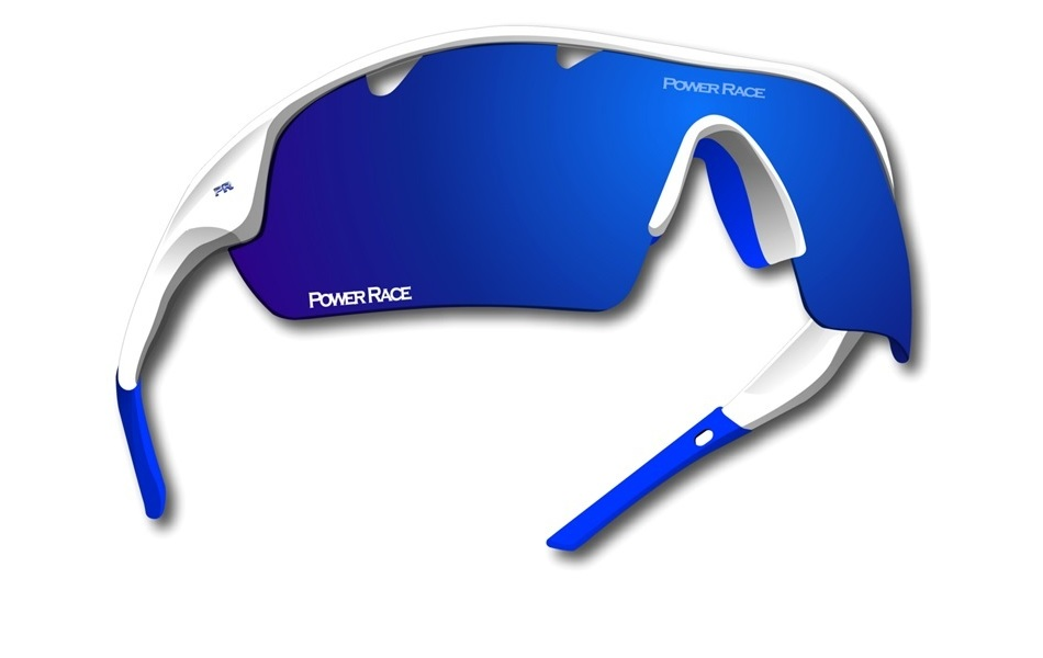 Power Race Mirage Cycling Glasses / White and Blue / Blue Polarized / 3 Lenses