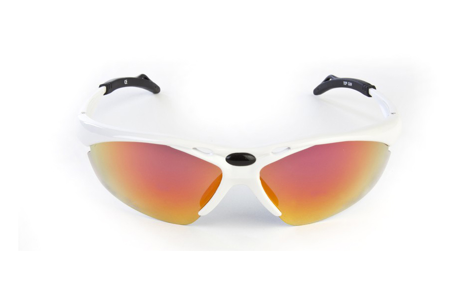 Dolce Vita Top Gun Cycling Glasses / White / Red Revo / Orange and Clear