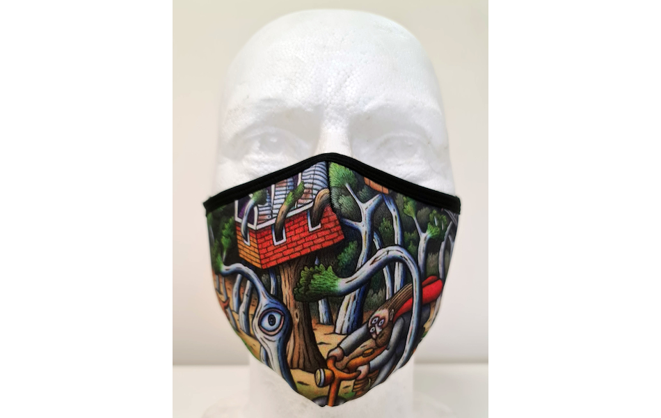 Planet X Custom Fabric Filter Face Mask / Reg Mombassa Edition Australian Jesus on Golden Bicycle