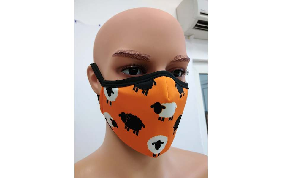 Planet X Custom Fabric Filter Face Mask / Handle Baas Sheep Orange