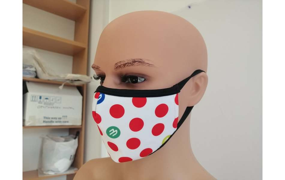 Planet X Custom Fabric Filter Face Mask / KOM Red Polka Dot White