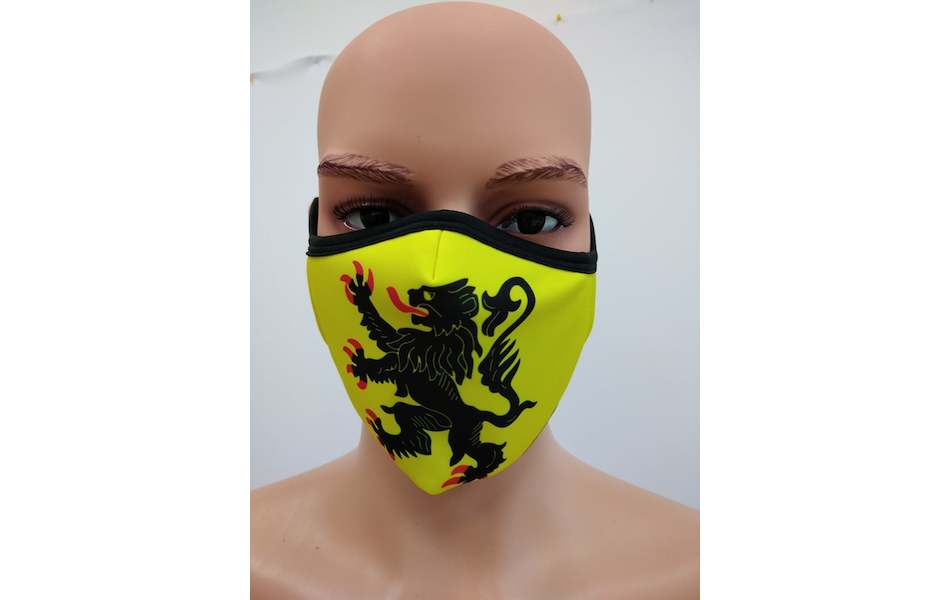 Planet X Custom Fabric Filter Face Mask / Lion of Flanders Yellow