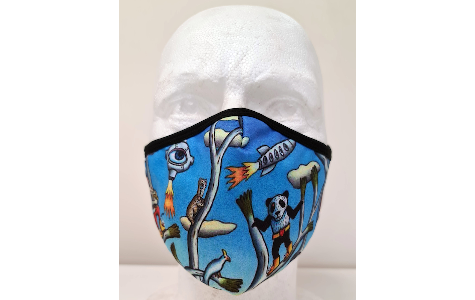 Planet X Custom Fabric Filter Face Mask / Reg Mombassa Edition  Australian Landscape with Panda