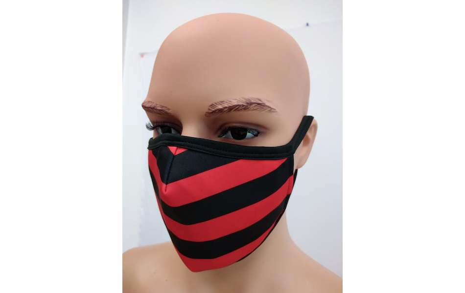 Planet X Custom Fabric Filter Face Mask / Red and Black Stripe