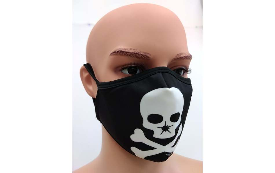 Planet X Custom Fabric Filter Face Mask / On-One Skull Black